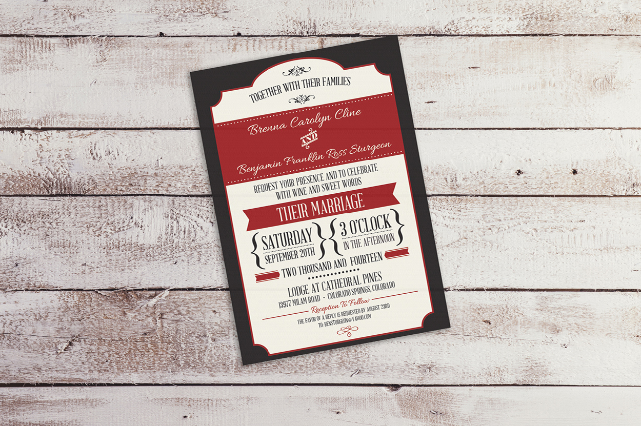 Ben and Brenna\'s wedding invitations, by Ginseng Creative Co.